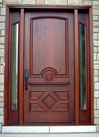 Custom european style solid wood door with sidelights for European exterior doors
