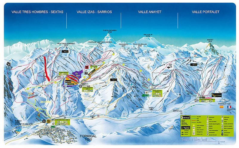 Formigal Piste Map Trail Map Estaciones De Esqui Esquí Deportes De Invierno