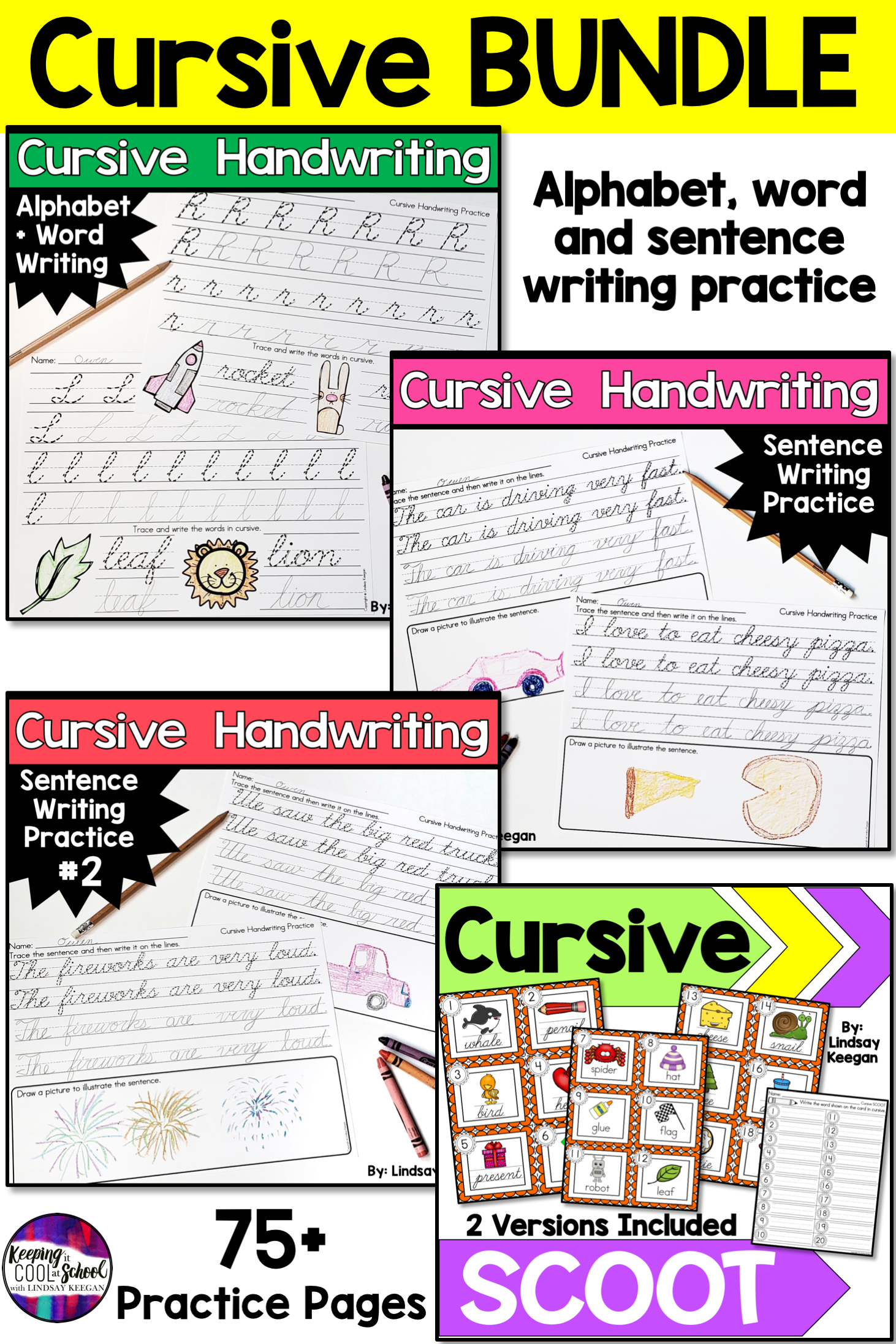 Cursive Handwriting Practice Bundle In