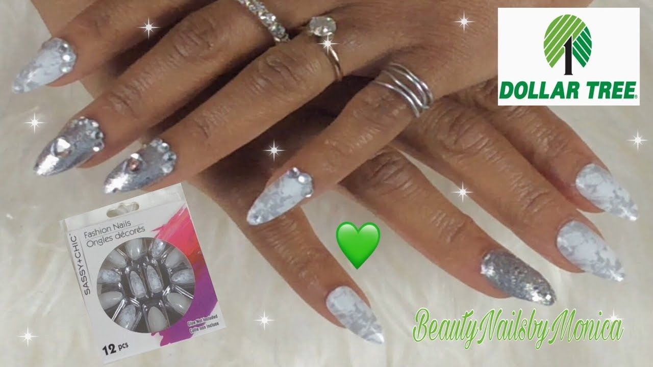 How To Glam Up Gray Marble Sassy Chic Fake Dollar Tree Nails Youtube Tree Nails Nails Fake Nails