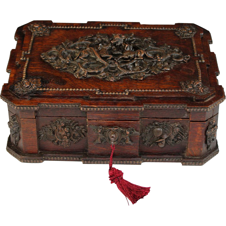 Antique French Signed Wood Box With Cast Metal Decorations, Depicting  Hunting Dogs