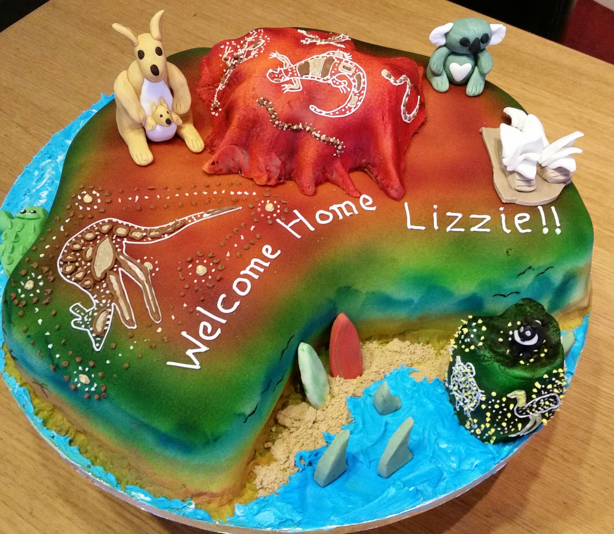 Australian Themed Welcome Home Cake Aboriginal Art