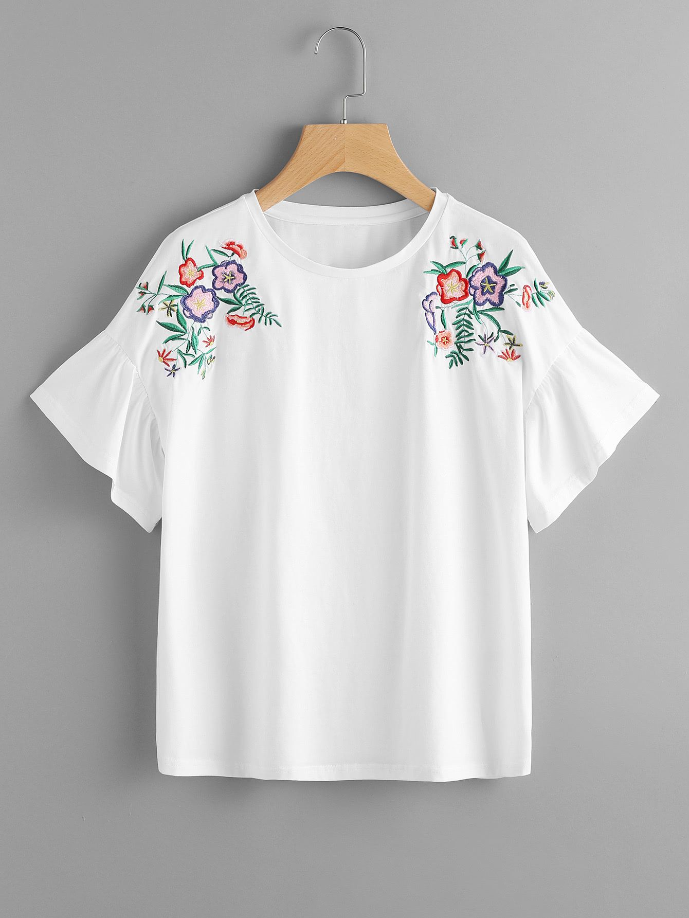44e54eb04 Shop Flower Embroidered Frill Sleeve Tee online. SheIn offers Flower  Embroidered Frill Sleeve Tee & more to fit your fashionable needs.