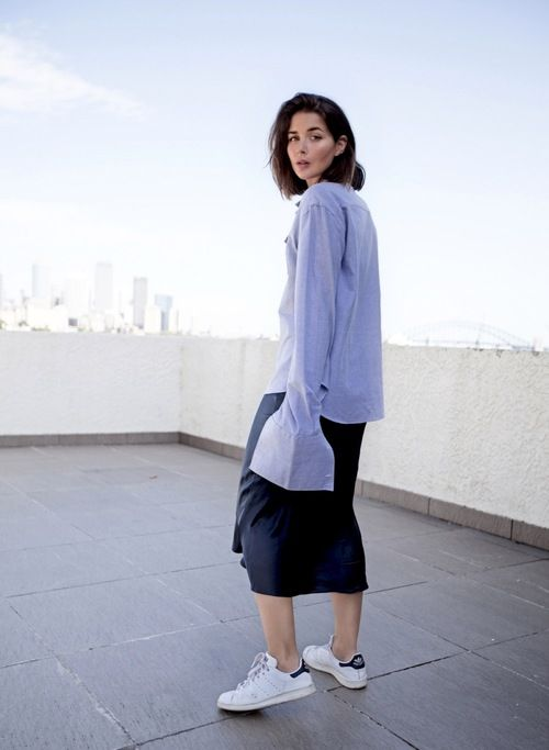 Harper & Harley // oversized button-down shirt with unbuttoned French cuffs, navy slip dress and white sneakers