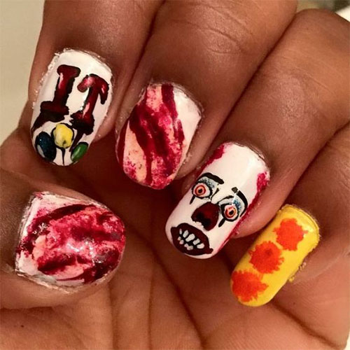 Halloween Creepy Clown Nails Art 2019 | Halloween nails ...