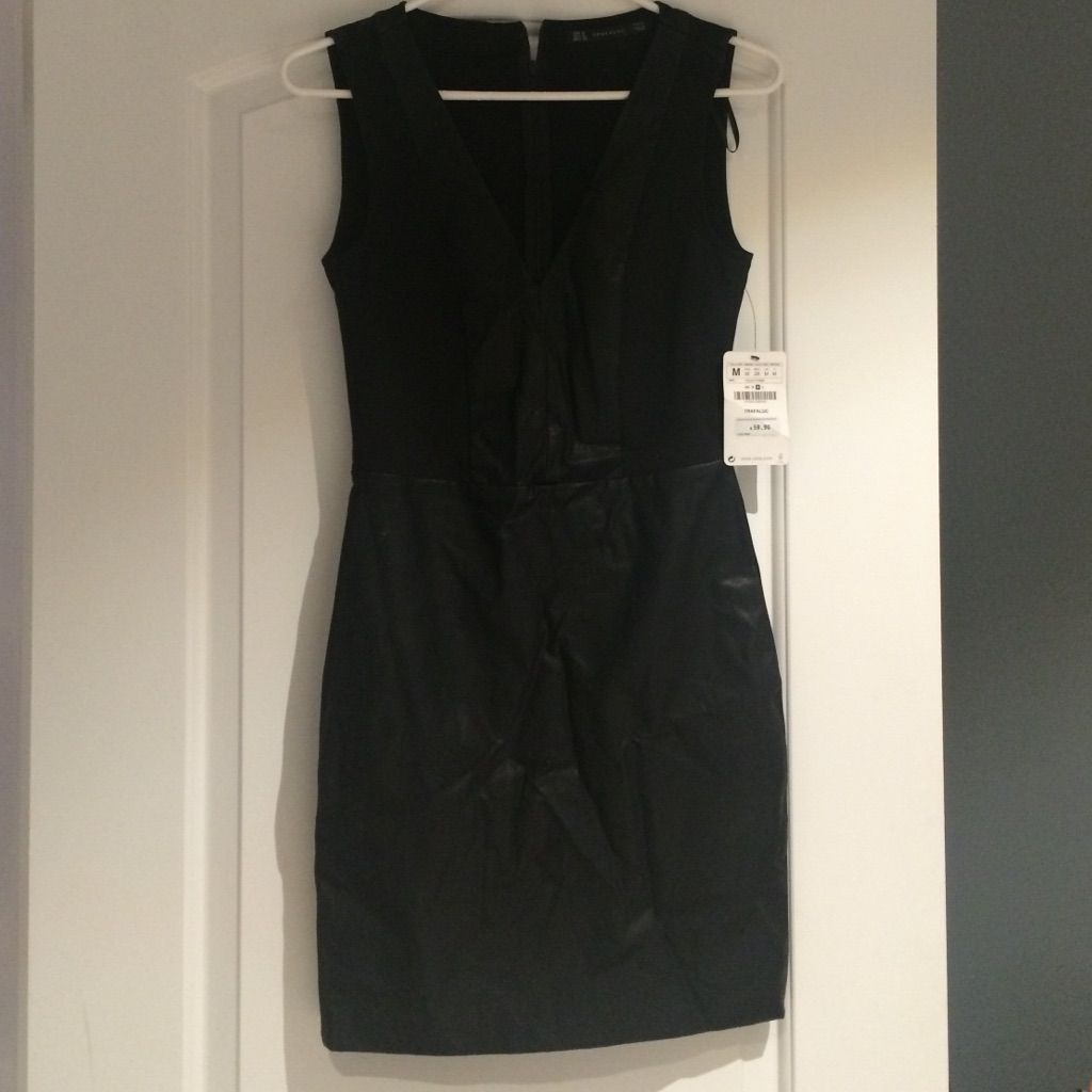 Nwt zara black dress with leather zara black dress and products