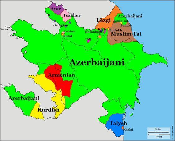 Languages of Azerbaijan maps Pinterest Language and History