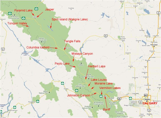 Map Of Banff National Park Map Of Banff And Jasper