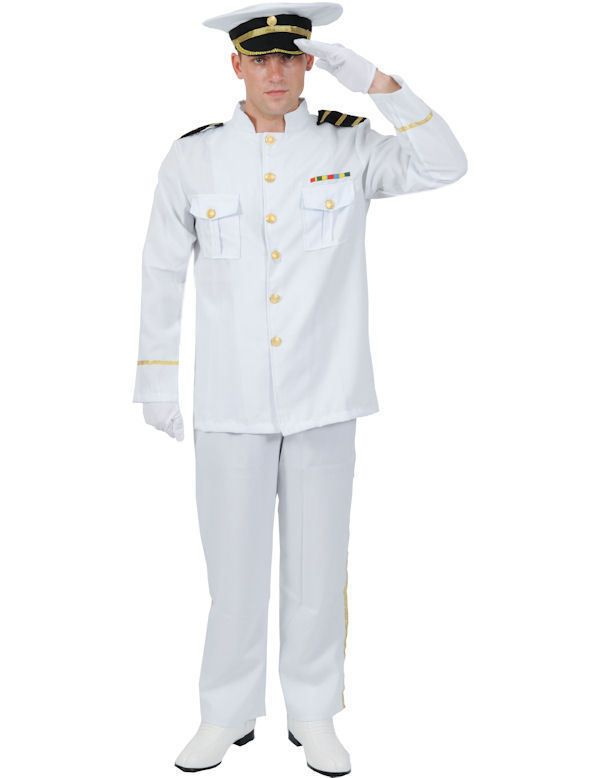 Adult NAVAL OFFICER Gentleman Forces Military Fancy Dress Costume Top Outfit Men