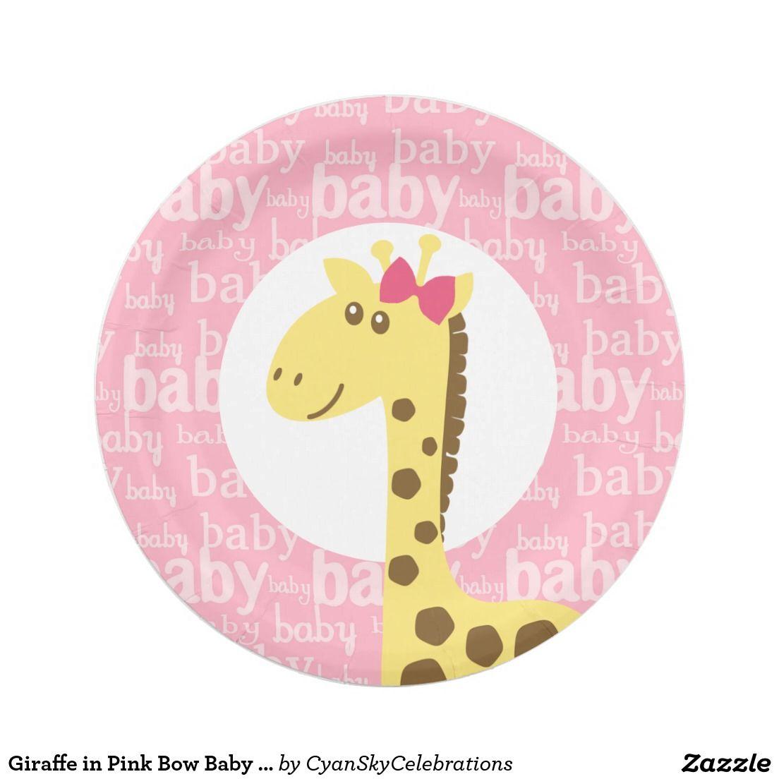 sc 1 st  Pinterest & Giraffe in Pink Bow Baby Shower for Girl Paper Plate