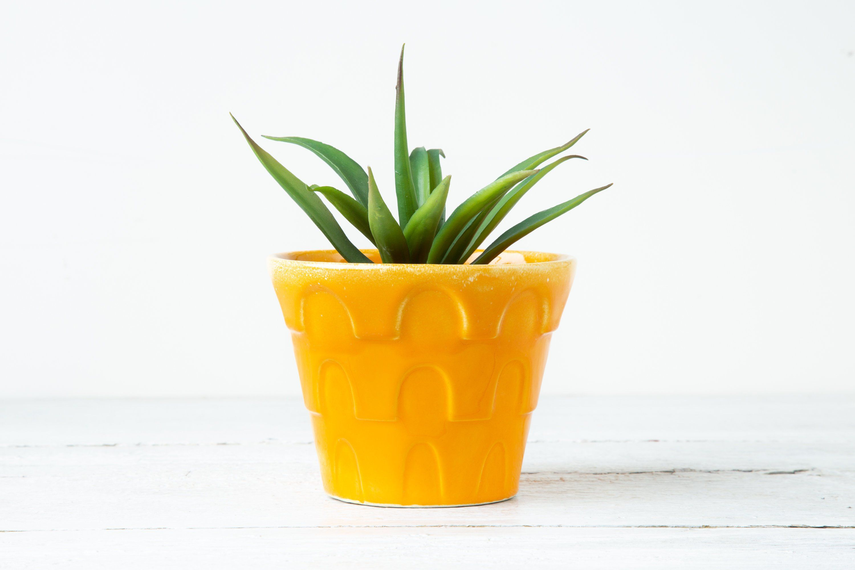 One Small Vintage Flower Planter Ceramic Plant Pot Sunflower Yellow Flower Pot Retro Flower Pot Br Ceramic Plant Pots Potted Sunflowers Flower Planters