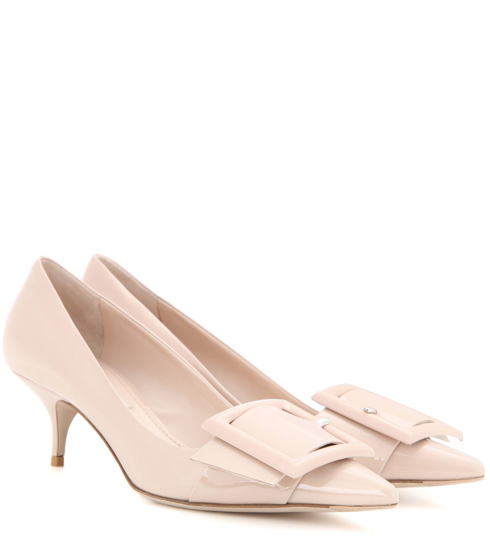 241e356df0fa1d Miu Miu Nude patent leather kitten-heel pumps