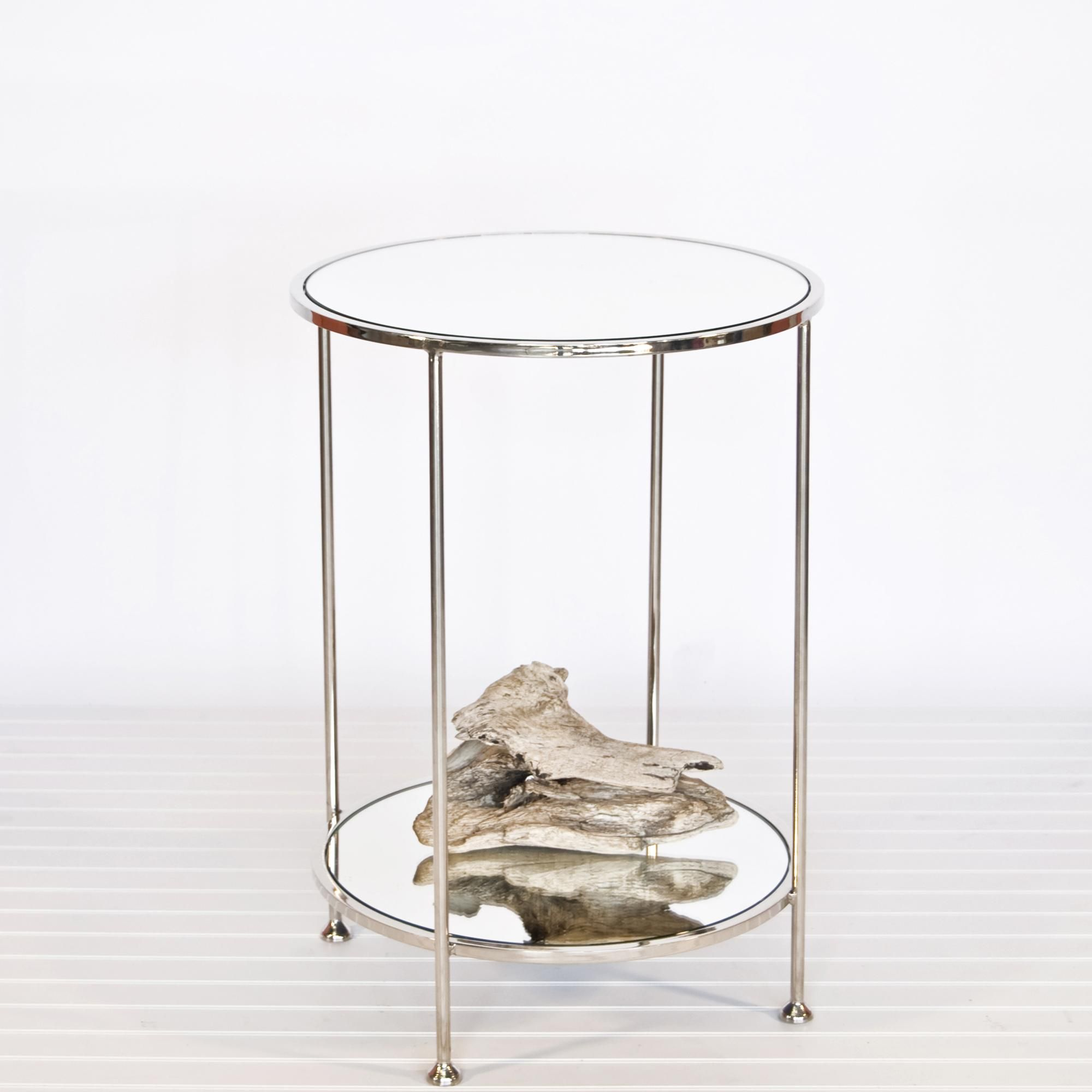 Chico Small 2 Tier Nickel Plate Side Table With Mirror Top By Worlds Away Mirrored Side Tables Side Table Table