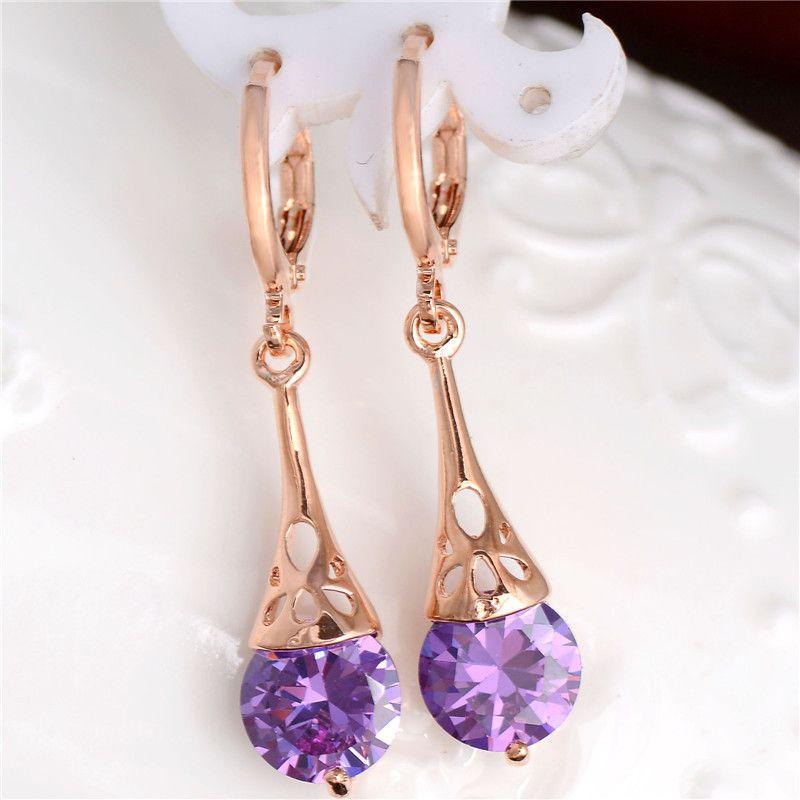 ed364f5369 Hot Women/Girls Gold Color White/Purple CZ Stone Pierced Dangle ...