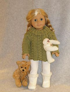 """American Girl 18"""" dollTurtleneck Cable Sweater by Ase Bence"""