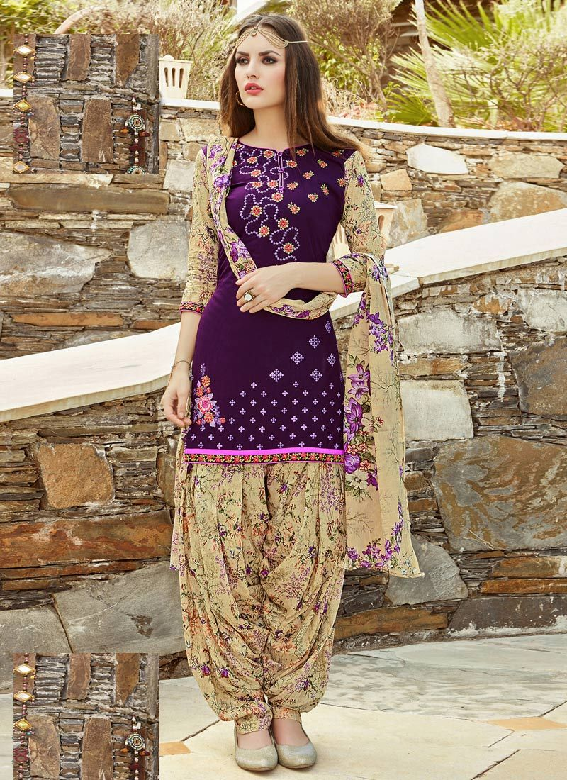 0d6c18f782b Readymade Purple Cotton Cambric Patiala Suit in 2019