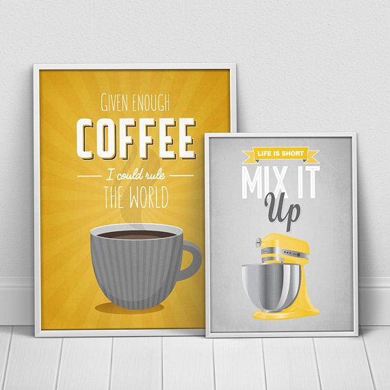 Gray Yellow Kitchen Posters Set, Yellow Gray Kitchen decor, Yellow ...