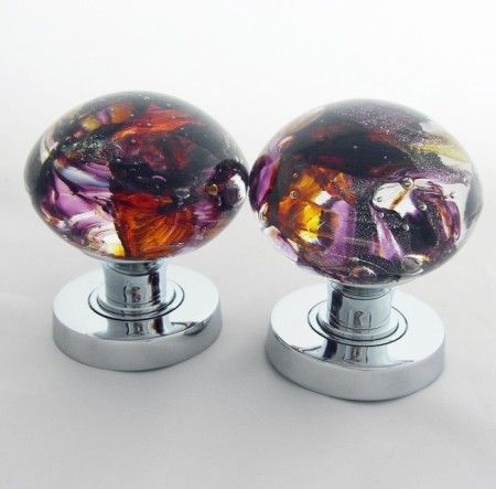 Pair of handmade glass door knobs Handmade by us at Wight Island