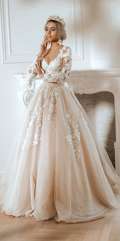 disney wedding dresses ball gown with long sleeves lace floral beige for belle auroracouture from PeachGirlDress