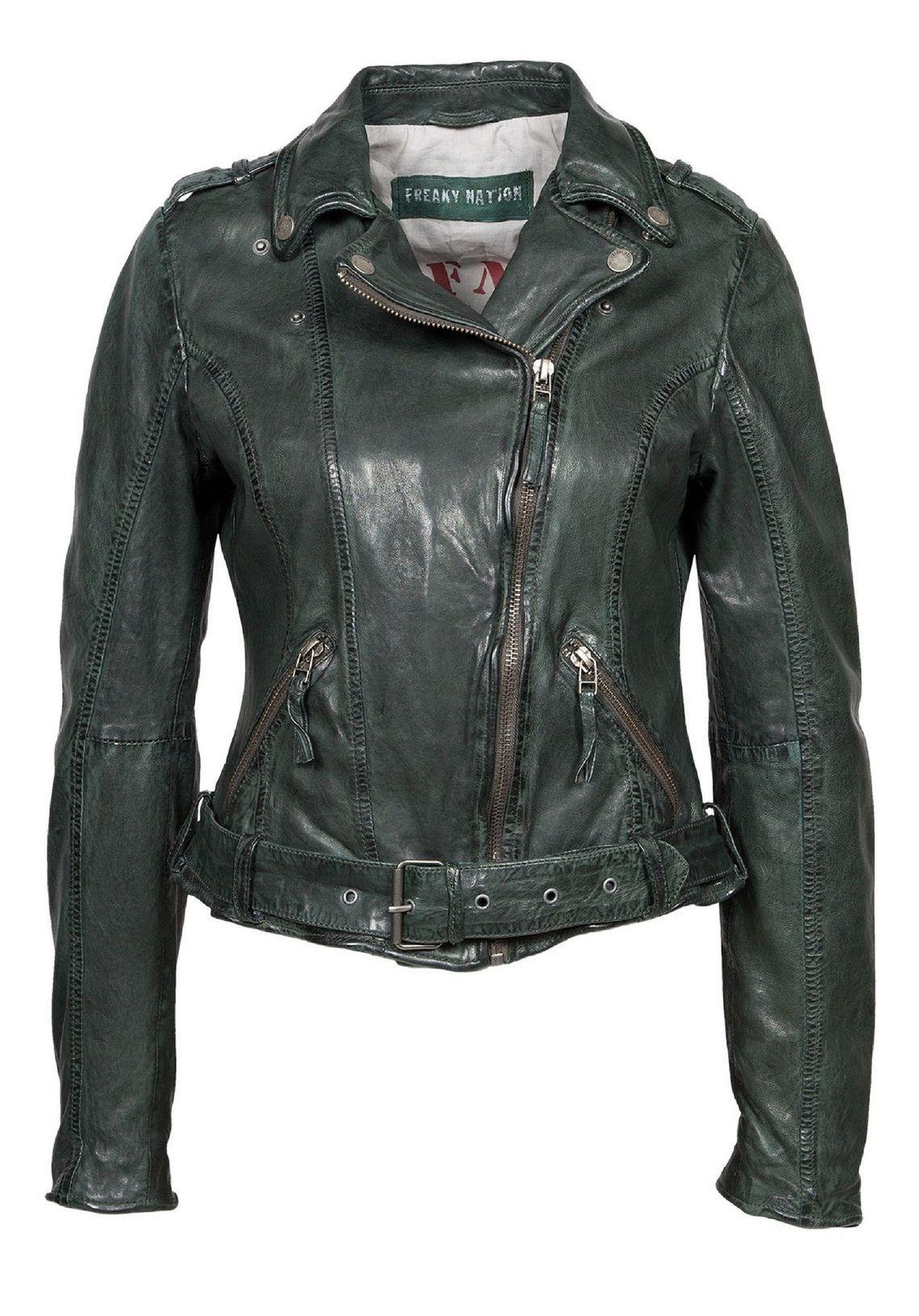 Freaky Nation Damen Lederjacke Bikerjacke Jacke Biker Look Leder  Jacket SALE /%
