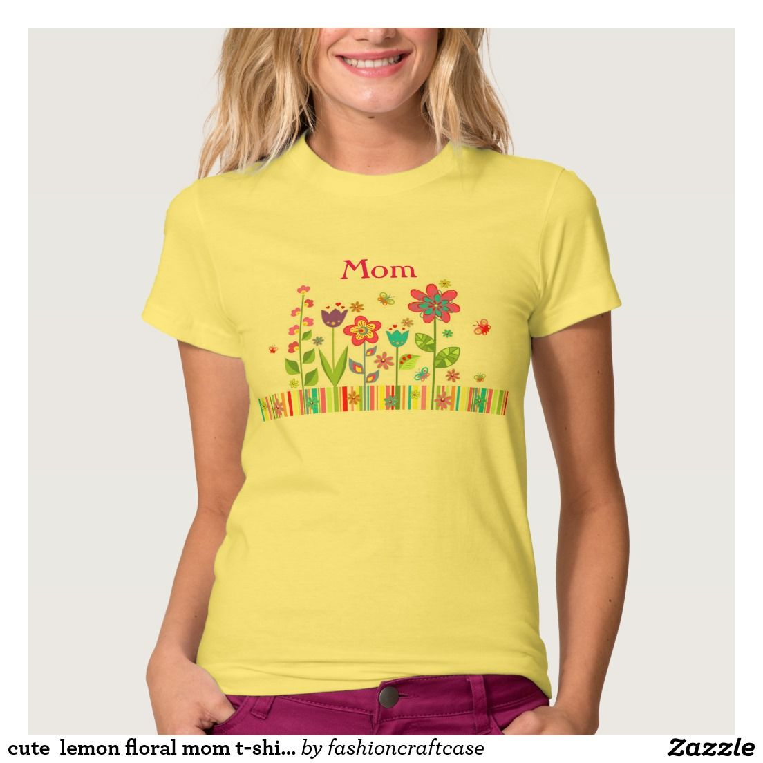 cute  lemon floral mom t-shirt