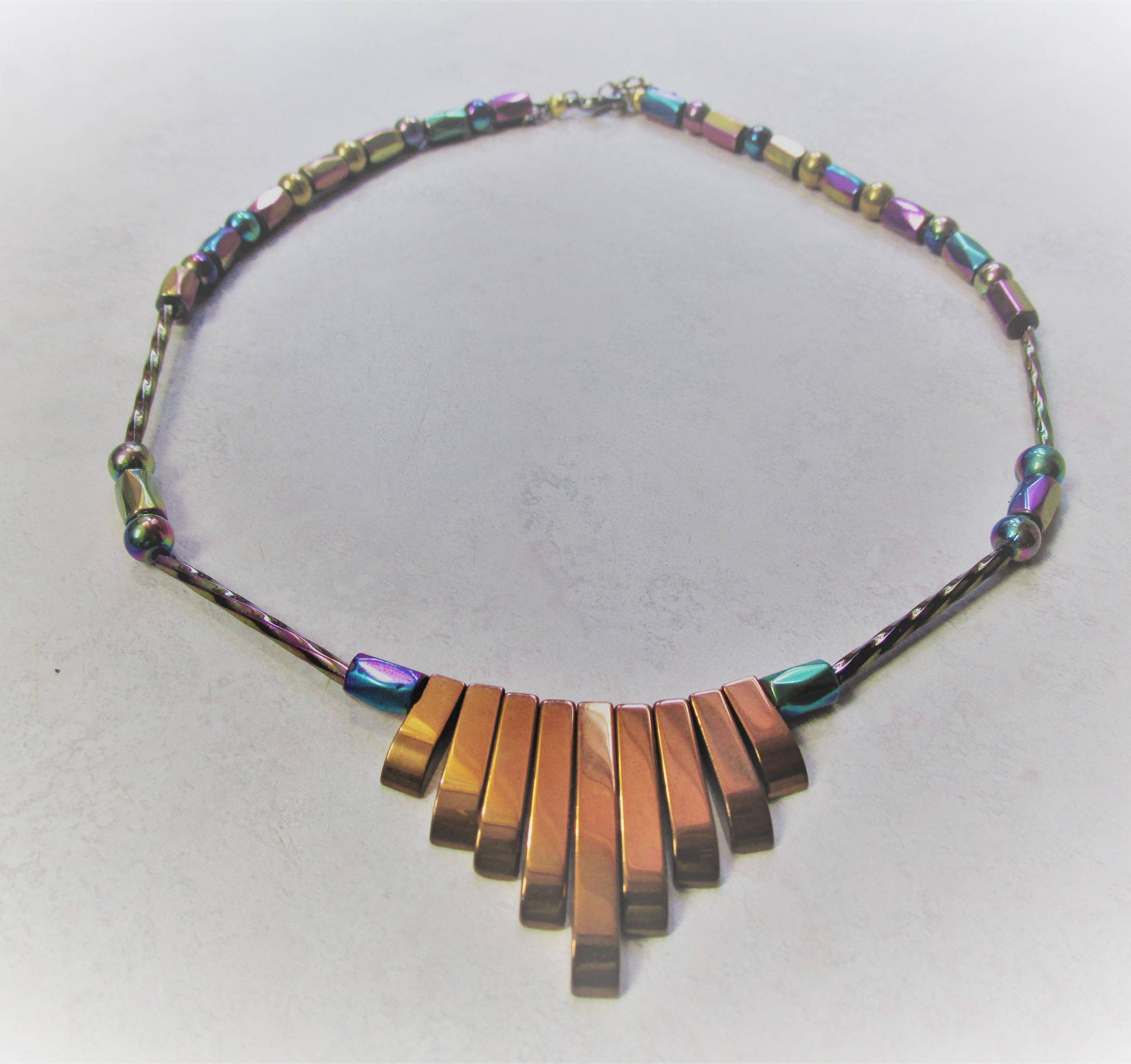 on hematite by pin etsy rainbow copper jewellery necklace magnetic colored jewelry rockyjewelrydesigns and