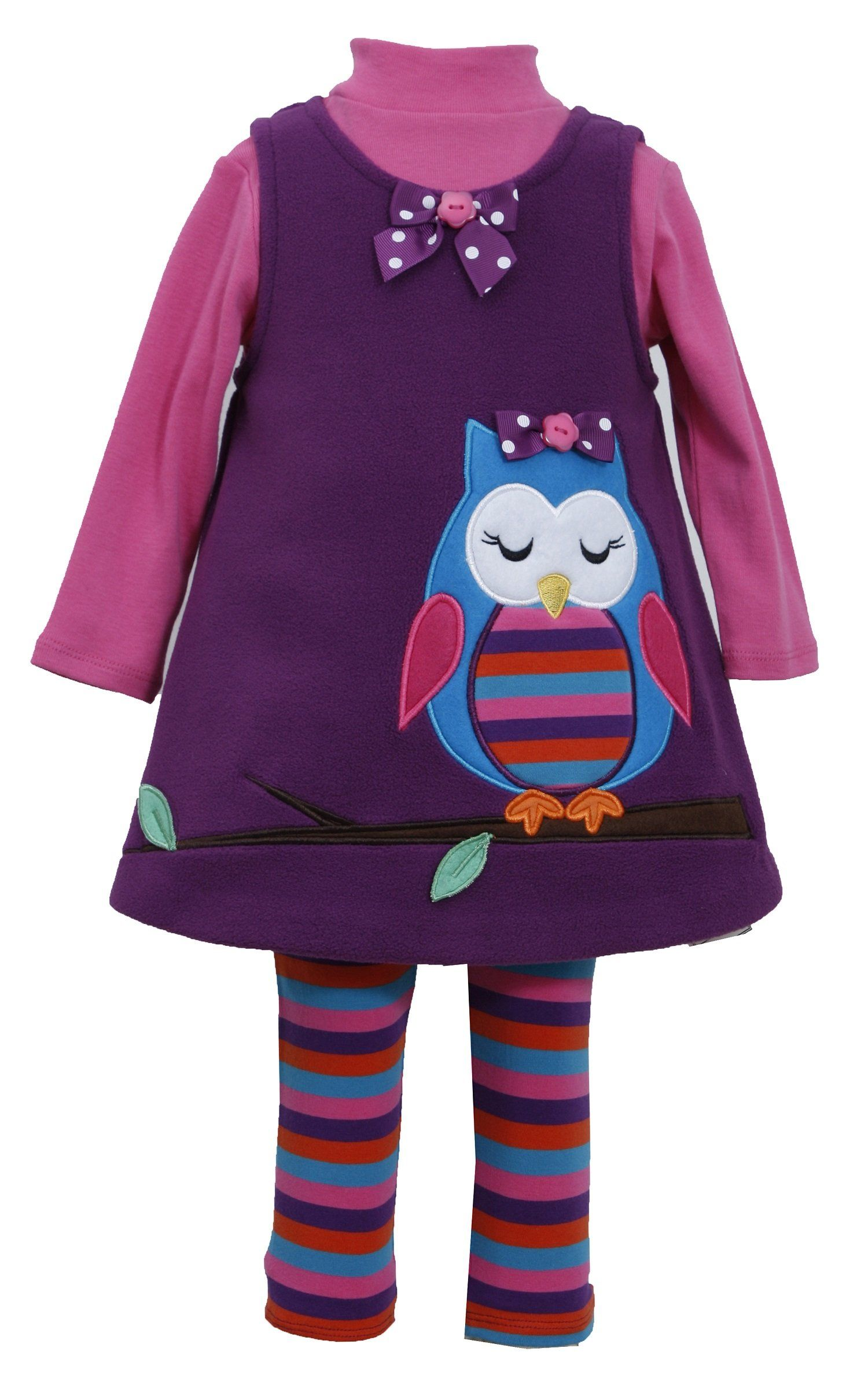 a2fd7bbb7acc Bonnie Jean Little Girls Purple Sleeping Owl Fleece Jumper Dress Legging  3pc set, 4.