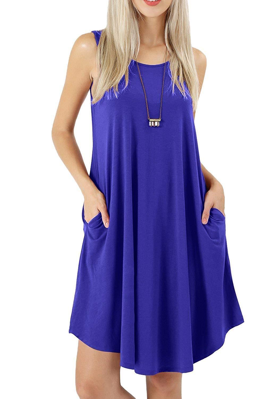 f5a018e852b8f peassa Women's Sleeveless Pockets Casual Swing T-Shirt Short Dresses ...