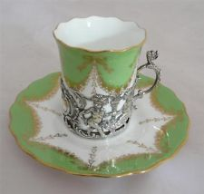 "coalport china | Antique Coalport ""Jays"" Coffee Cup/can saucer silver base Cherubs ..."