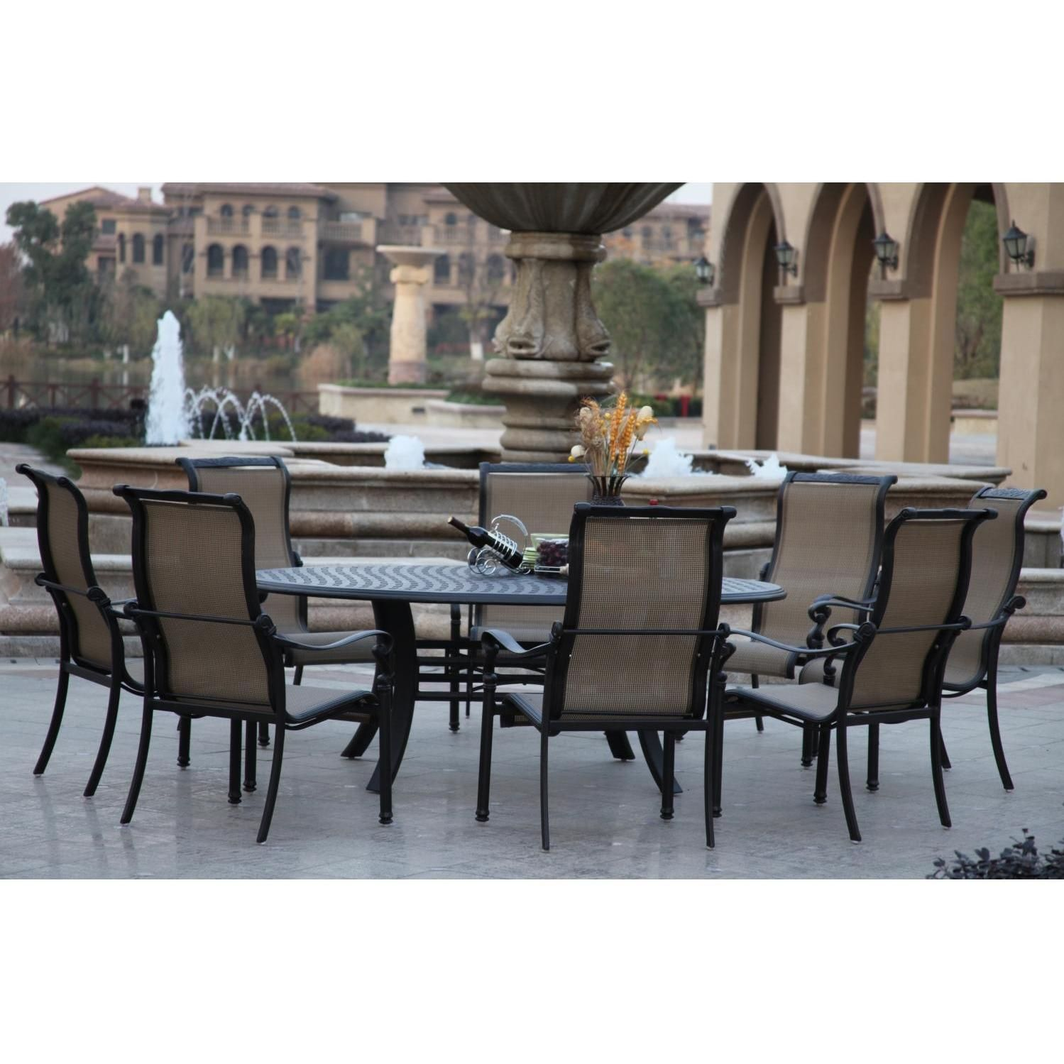 Perfect Darlee Monterey 8 Person Patio Dining Set   Antique Bronze