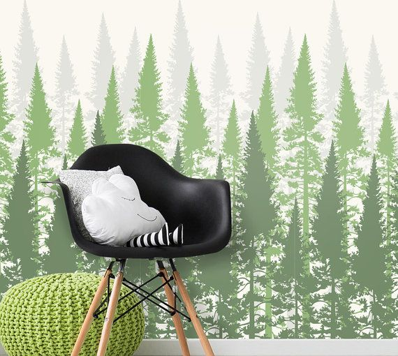 Forest Wallpaper   Evergreen Forest Tree Wallpaper for Home Decor   Custom  Color Options   Woodland Scene Removable Wallpaper   W1054