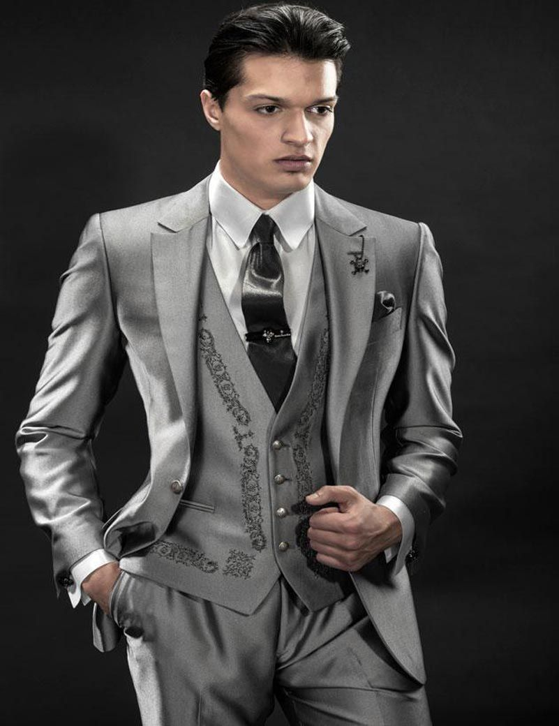 Shiny Silver Mens Suits 2016 wedding suits for groom Tuxedos ...