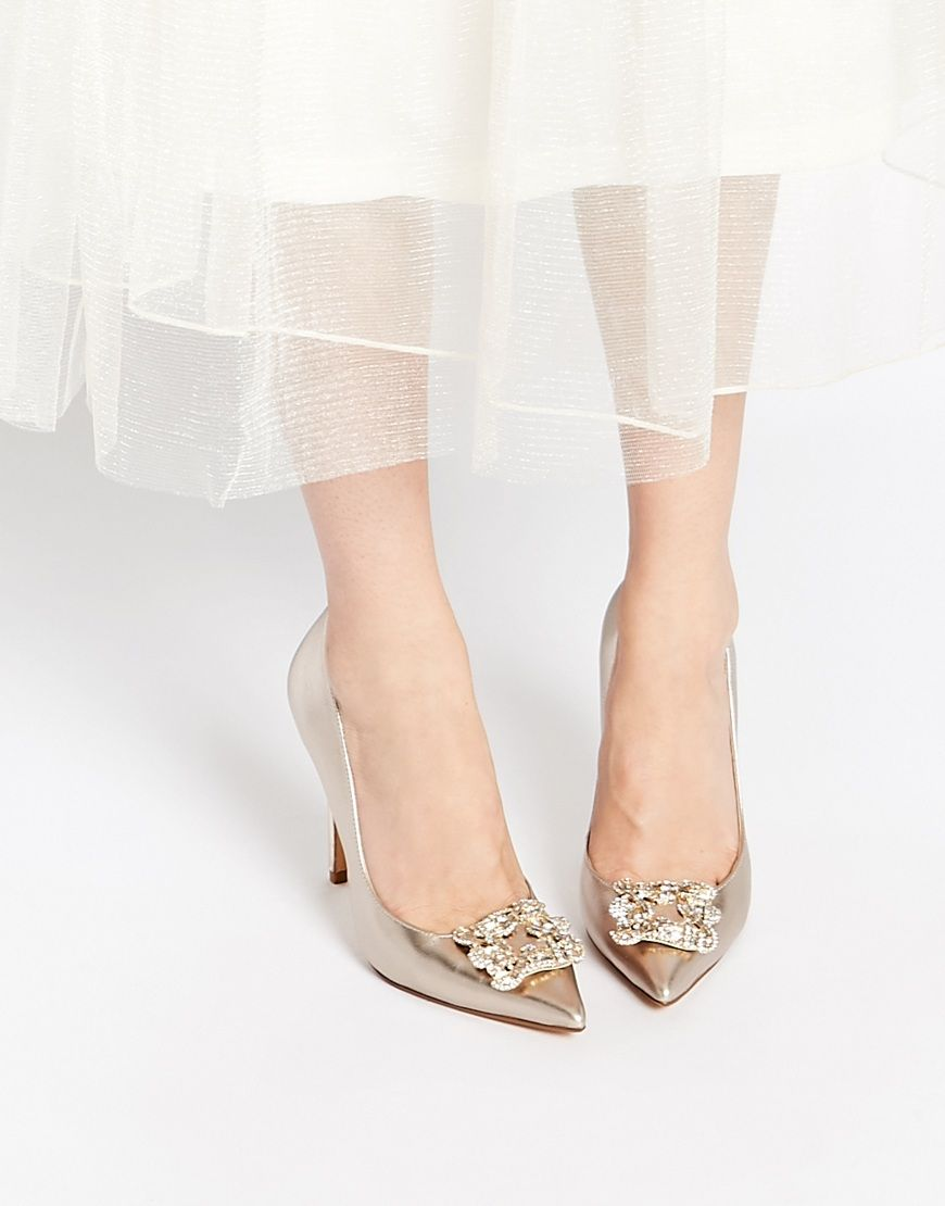 Fashion latest style Dune Breanna Champagne Embellished Heeled Court Shoes Outlet