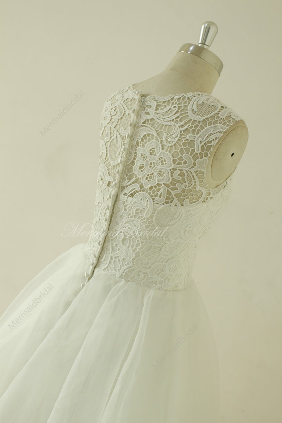 Vintage knee length lace wedding dress, lace prom dress with ...