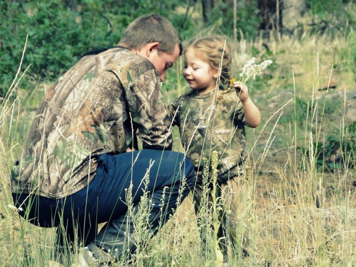 Excited too Little girl hunting authoritative message