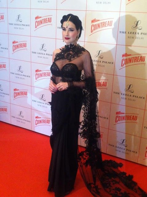 5b4c16325d7 Dita Von Teese in Shivan and Narresh black lace saree and Indian jewelry