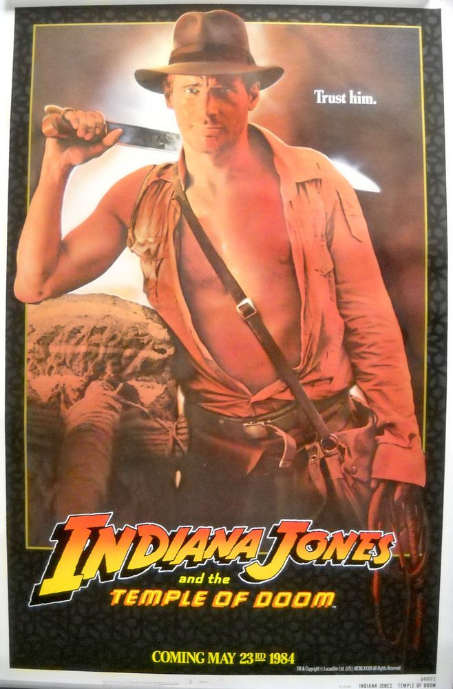 Indiana Jones And The Temple Of Doom Movie Poster Harrison Ford Adv 1sht Rolled Indiana Jones Doom Movie Adventure Movie
