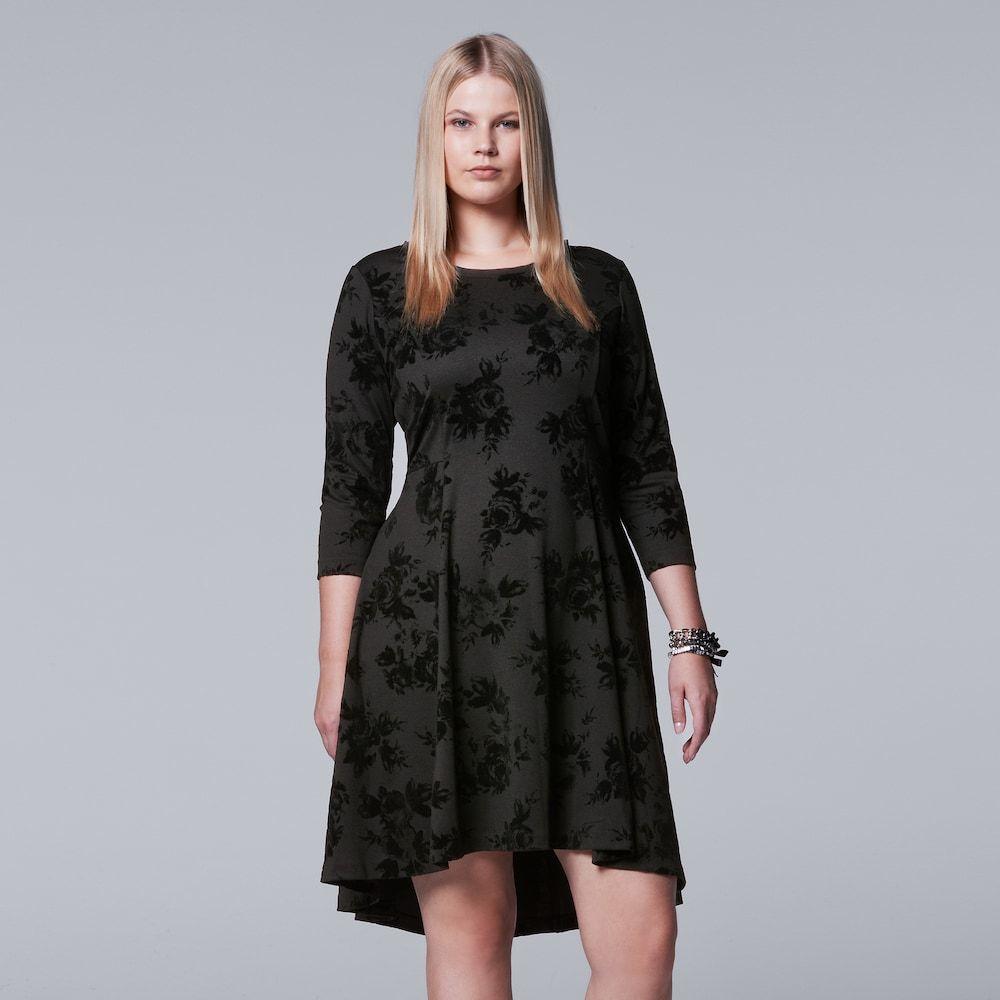 Plus Size Simply Vera Vera Wang Flocked Ponte Dress