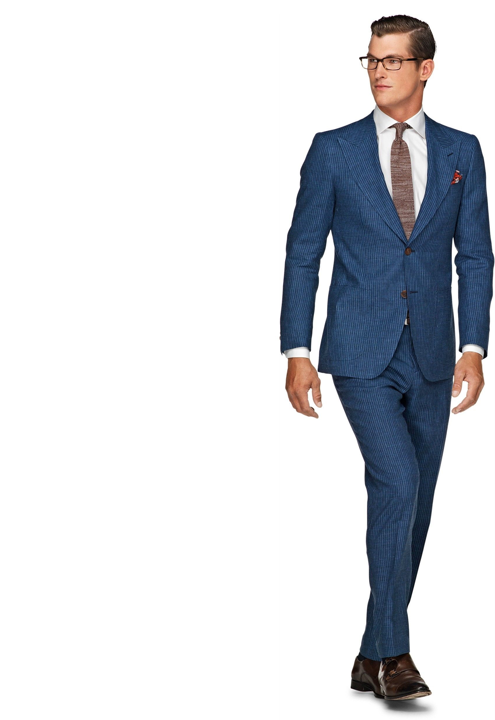 Silk-linen blend suit Blue Stripe Washington | Suitsupply ...