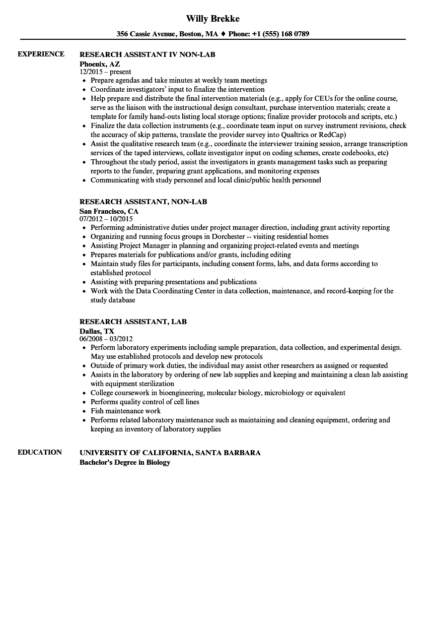 Resume Examples Research Assistant ResumeExamples (With