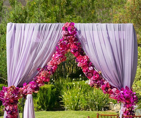 Mint Color Outdoor Ceremony Decorations: Purple Outdoor Wedding Ceremony