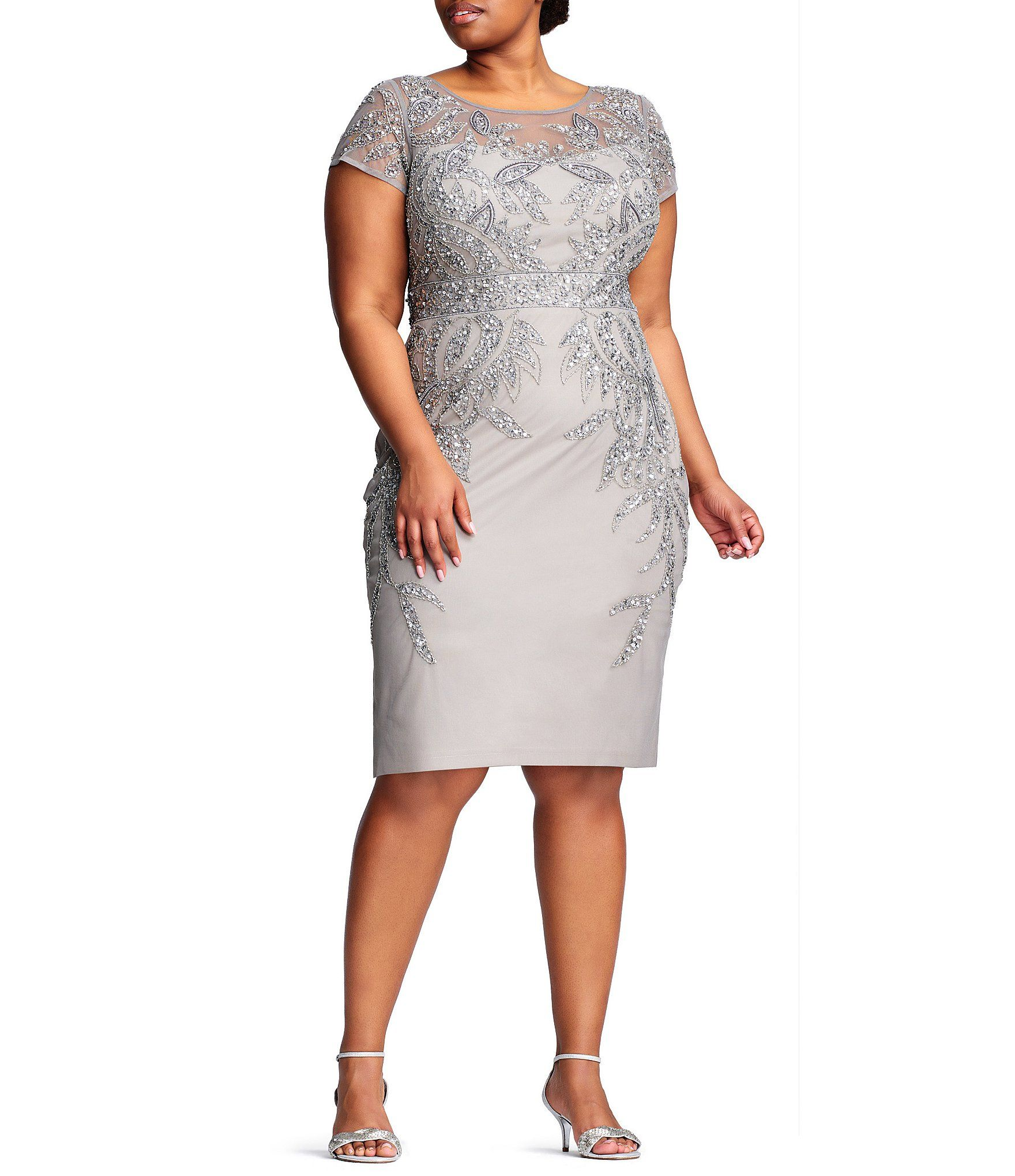 Adrianna Papell Plus Size Short Sleeve Beaded Sheath Dress