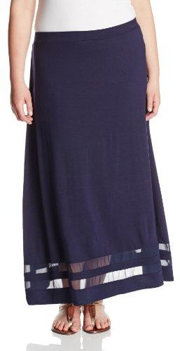 151bbf2df Vince Camuto Women's Plus-Size Maxi Skirt with Chiffon Inset on shopstyle .com.au