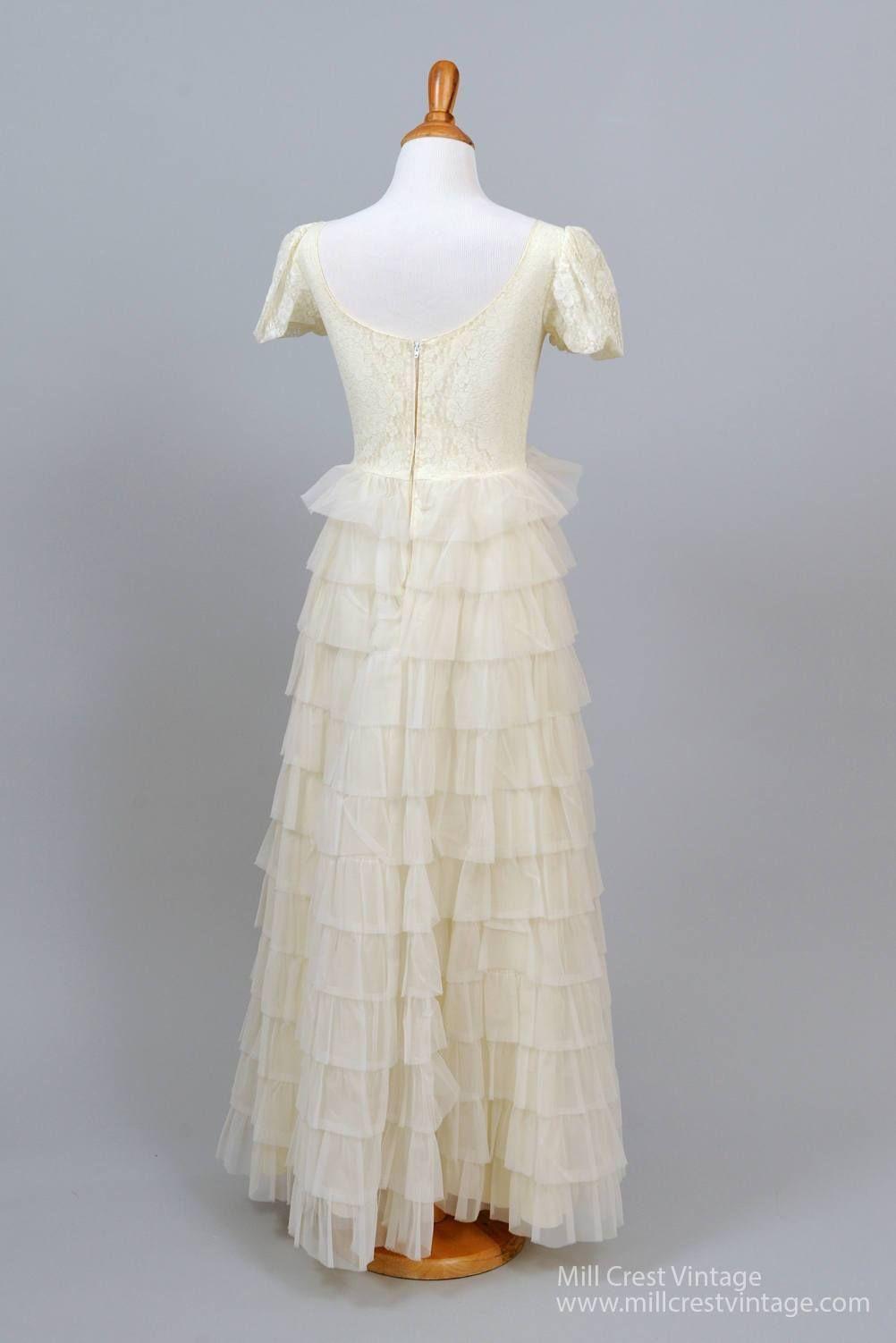 ruffled chiffon vintage wedding gown vintage weddings lace