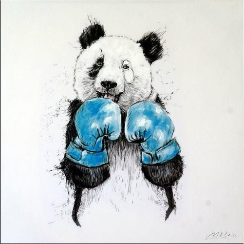 Attirant Boxing Panda Bear   Modern Acrylic Painting   Martin Klein   219 Euro