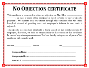 Attractive No Objection Certificate Template | Word, Excel U0026 PDF Templates