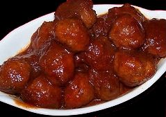 32oz of frozen meatballs 1 bottle of Masterpiece original BBQ Sause 1 jar of cheap Grape Jelly Put everything in the crock pot for 4 hours on low and you have amazing little finger foods even the kids will love. Arrange on a plate with toothpicks for any party!