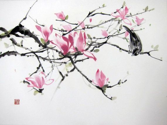 Magnolia And Sparrow Suibokuga Japanese Ink Painting Aquarelle