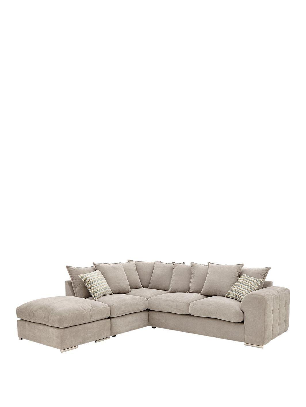 Cavendish Sophia Left Hand Corner Chaise Sofa With Footstool Chaise Sofa Fabric Sofa Grey Corner Sofa