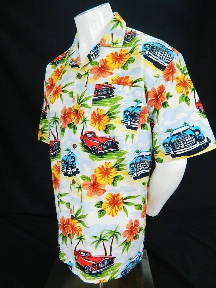 78fe4770 MONTAGE Microfiber Mens Hawaiian Shirt Classic Cars Floral Print Short  Sleeve M #MontageMicrofiber #Hawaiian
